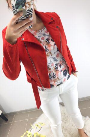 Punane seemisnahast jakk