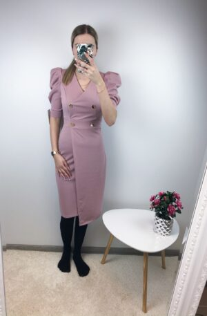 Vanaroosa nööpidega kleit