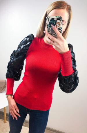 Punane soonikpluus, puhvis varrukatega