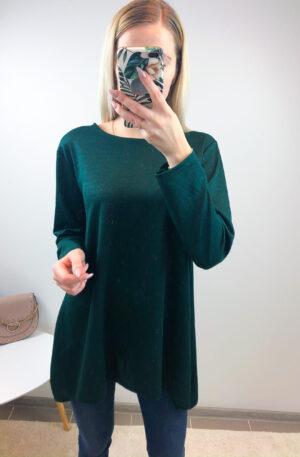 Roheline sädelusega pluus, lõhikuga küljel