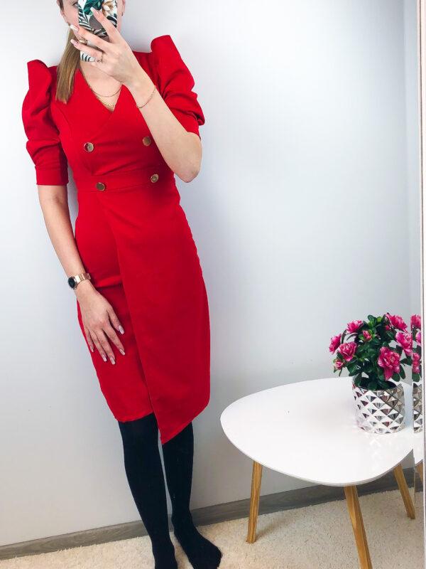 Punane nööpidega kleit