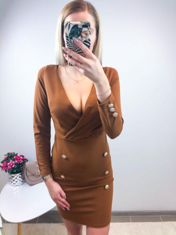 Pruun nööpidega kleit