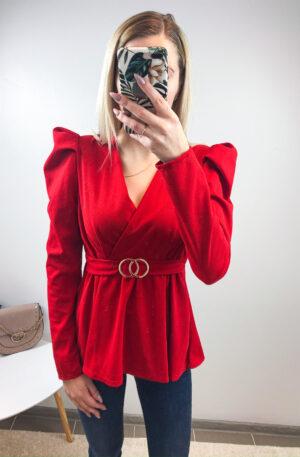 Punane peplumlõikega pluus