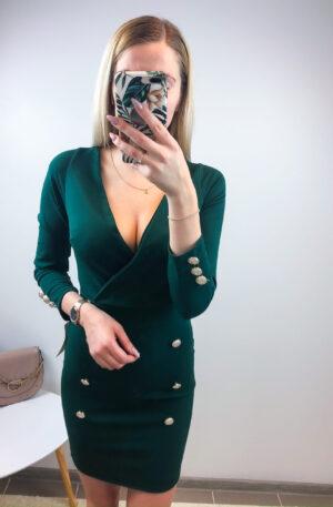 Roheline nööpidega kleit