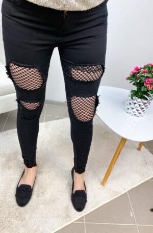 Mustad võrguga stretchid teksad