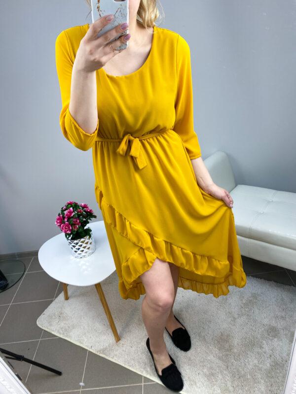 Kollane high-low stiilis kleit